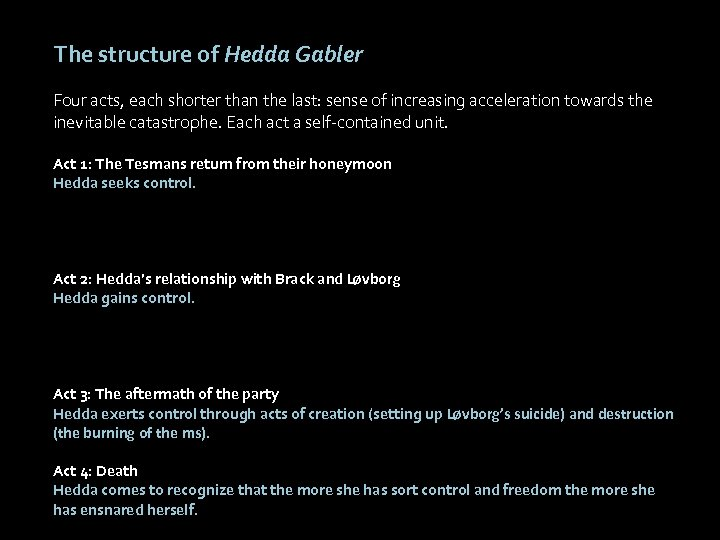 The structure of Hedda Gabler Four acts, each shorter than the last: sense of
