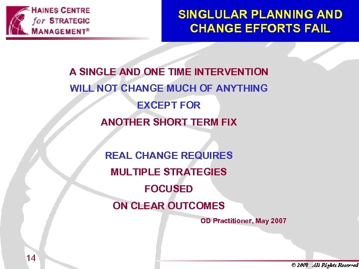 SINGLULAR PLANNING AND CHANGE EFFORTS FAIL A SINGLE AND ONE TIME INTERVENTION WILL NOT