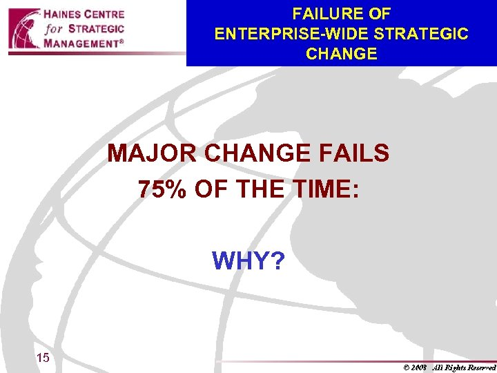 FAILURE OF ENTERPRISE-WIDE STRATEGIC CHANGE MAJOR CHANGE FAILS 75% OF THE TIME: WHY? 15