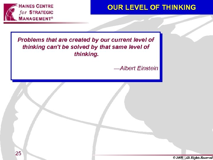 OUR LEVEL OF THINKING Problems that are created by our current level of thinking