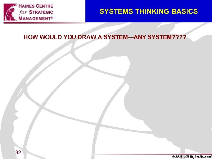 SYSTEMS THINKING BASICS HOW WOULD YOU DRAW A SYSTEM—ANY SYSTEM? ? 32
