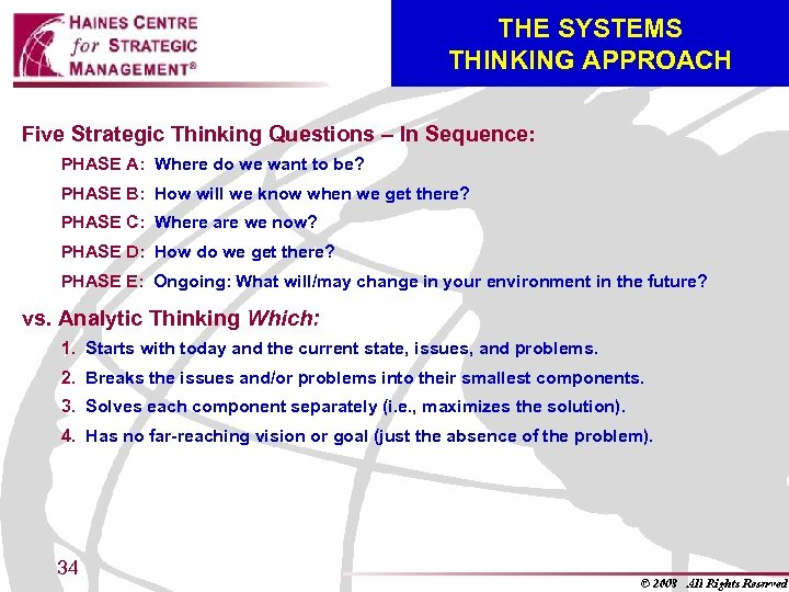 THE SYSTEMS THINKING APPROACH Five Strategic Thinking Questions – In Sequence: PHASE A: Where
