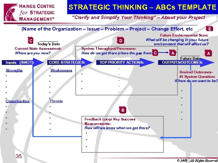 "STRATEGIC THINKING – ABCs TEMPLATE ""Clarify and Simplify Your Thinking"" – About your Project"