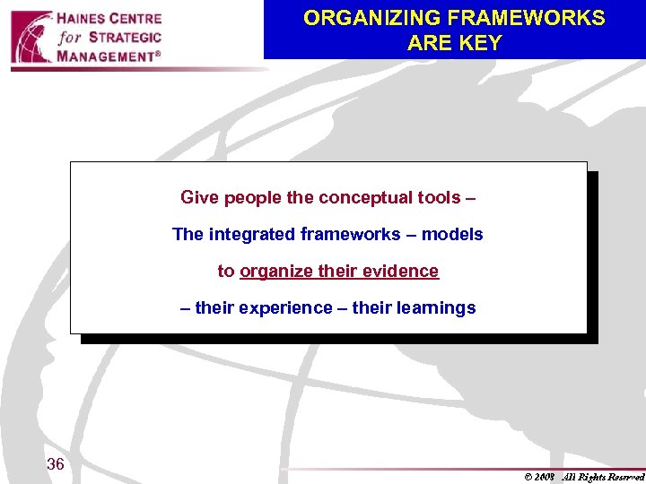 ORGANIZING FRAMEWORKS ARE KEY Give people the conceptual tools – The integrated frameworks –