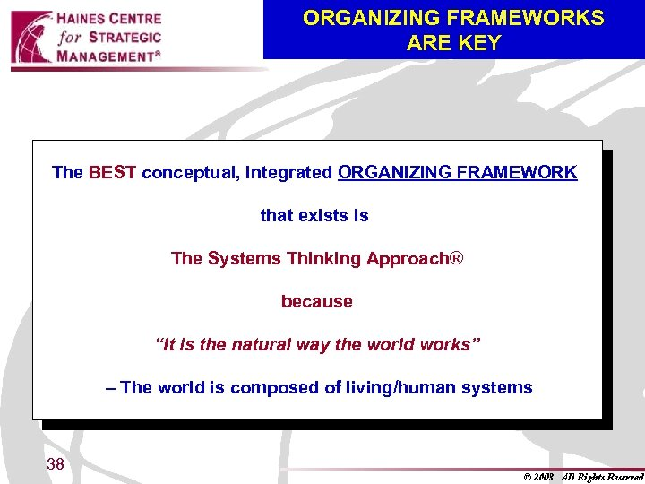ORGANIZING FRAMEWORKS ARE KEY The BEST conceptual, integrated ORGANIZING FRAMEWORK that exists is The