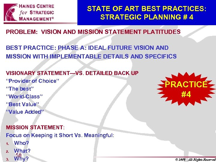 STATE OF ART BEST PRACTICES: STRATEGIC PLANNING # 4 PROBLEM: VISION AND MISSION STATEMENT