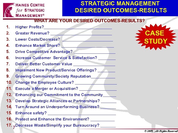STRATEGIC MANAGEMENT DESIRED OUTCOMES-RESULTS WHAT ARE YOUR DESIRED OUTCOMES-RESULTS? 1. 2. 3. 4. 5.