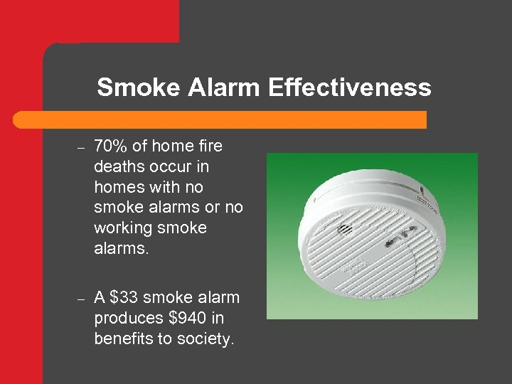 Smoke Alarm Effectiveness – 70% of home fire deaths occur in homes with no