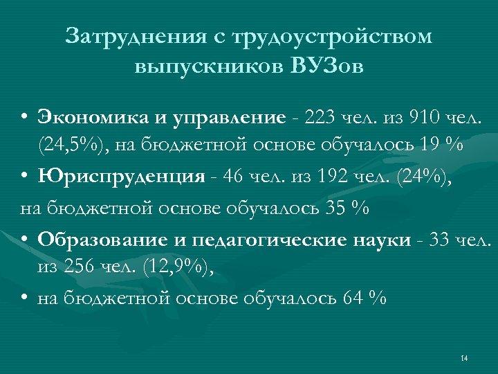Затруднения с трудоустройством выпускников ВУЗов • Экономика и управление - 223 чел. из 910