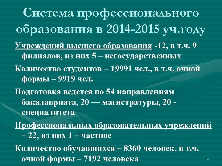 Система профессионального образования в 2014 -2015 уч. году Учреждений высшего образования -12, в т.