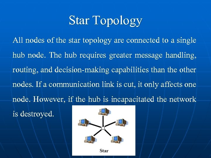 Star Topology All nodes of the star topology are connected to a single hub