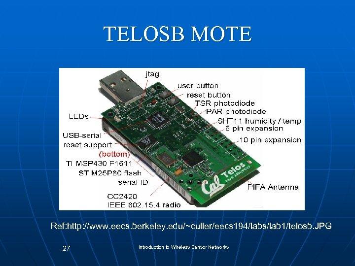 TELOSB MOTE Ref: http: //www. eecs. berkeley. edu/~culler/eecs 194/labs/lab 1/telosb. JPG 27 Introduction to
