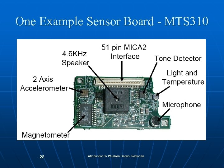 One Example Sensor Board - MTS 310 28 Introduction to Wireless Sensor Networks