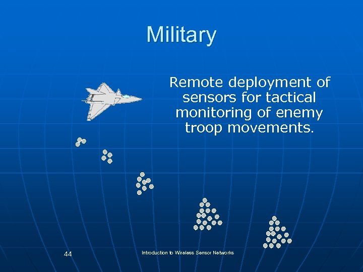 Military Remote deployment of sensors for tactical monitoring of enemy troop movements 44 Introduction