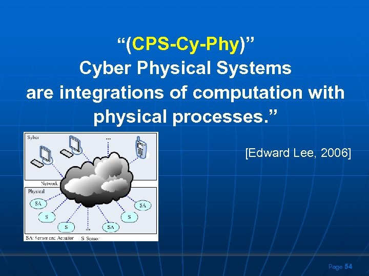 """""""(CPS-Cy-Phy)"""" Cyber Physical Systems are integrations of computation with physical processes. """" [Edward Lee,"""