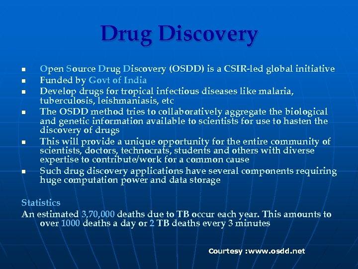Drug Discovery n n n Open Source Drug Discovery (OSDD) is a CSIR-led global