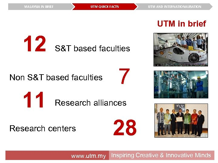 MALAYSIA IN BRIEF UTM QUICK FACTS UTM AND INTERNATIONALISATION UTM in brief 12 S&T