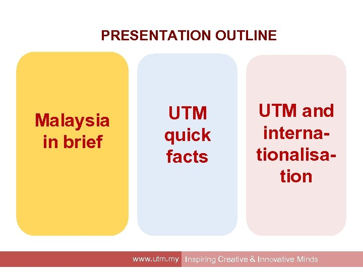 PRESENTATION OUTLINE Malaysia in brief UTM quick facts UTM and internationalisation www. utm. my