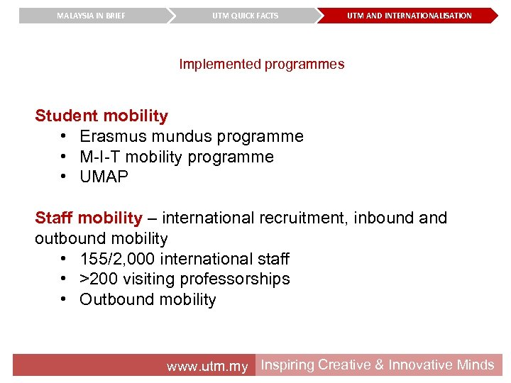 MALAYSIA IN BRIEF UTM QUICK FACTS UTM AND INTERNATIONALISATION Implemented programmes Student mobility •