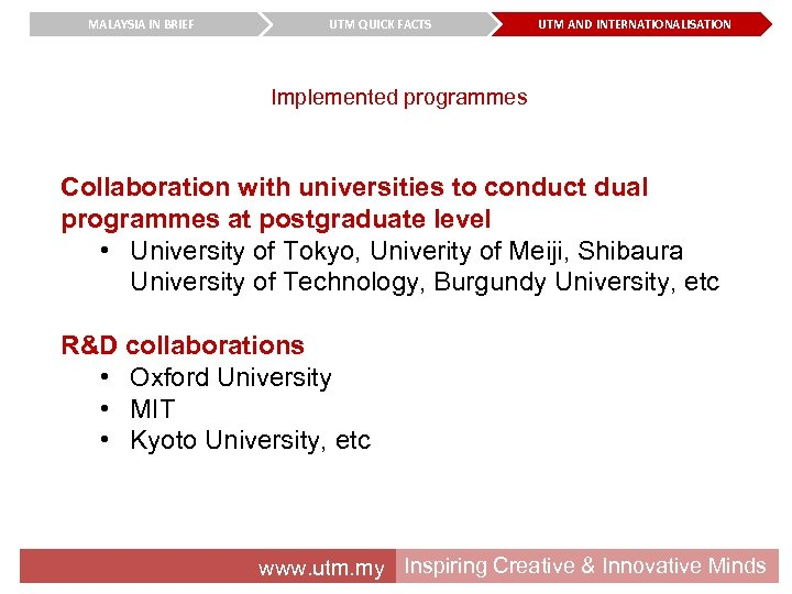 MALAYSIA IN BRIEF UTM QUICK FACTS UTM AND INTERNATIONALISATION Implemented programmes Collaboration with universities