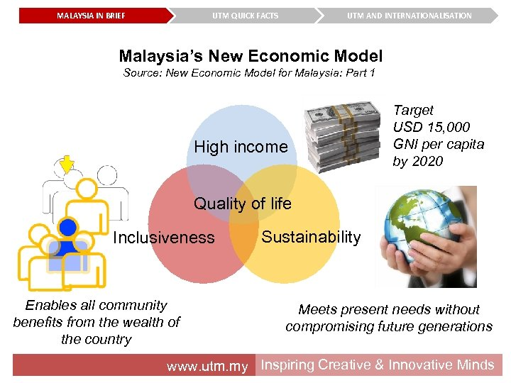 MALAYSIA IN BRIEF UTM QUICK FACTS UTM AND INTERNATIONALISATION Malaysia's New Economic Model Source: