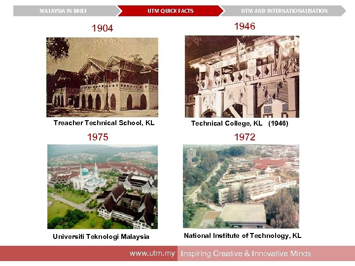 MALAYSIA IN BRIEF UTM QUICK FACTS UTM AND INTERNATIONALISATION 1946 1904 Treacher Technical School,