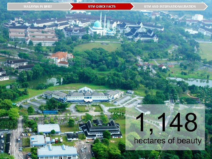 MALAYSIA IN BRIEF UTM QUICK FACTS UTM AND INTERNATIONALISATION 1, 148 hectares of beauty