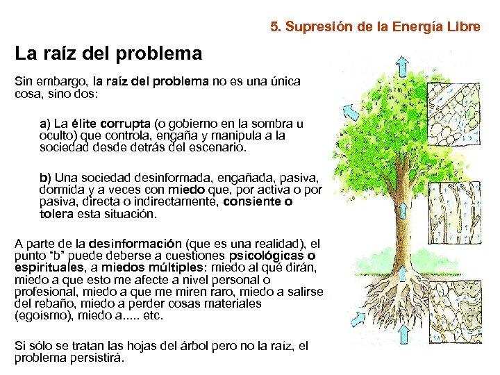 5. Supresión de la Energía Libre La raíz del problema Sin embargo, la raíz