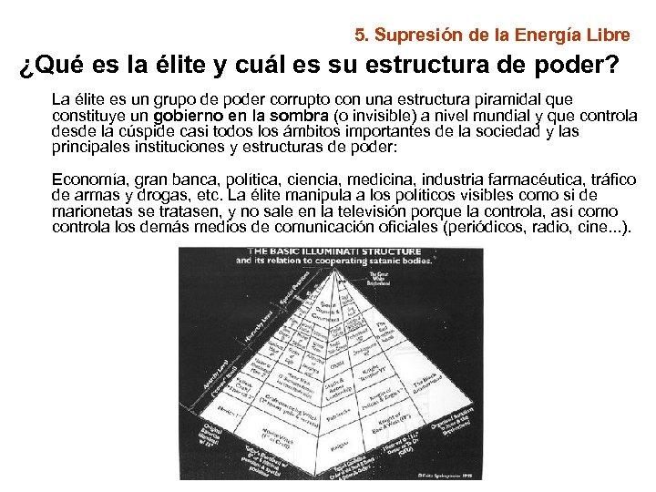 5. Supresión de la Energía Libre ¿Qué es la élite y cuál es su