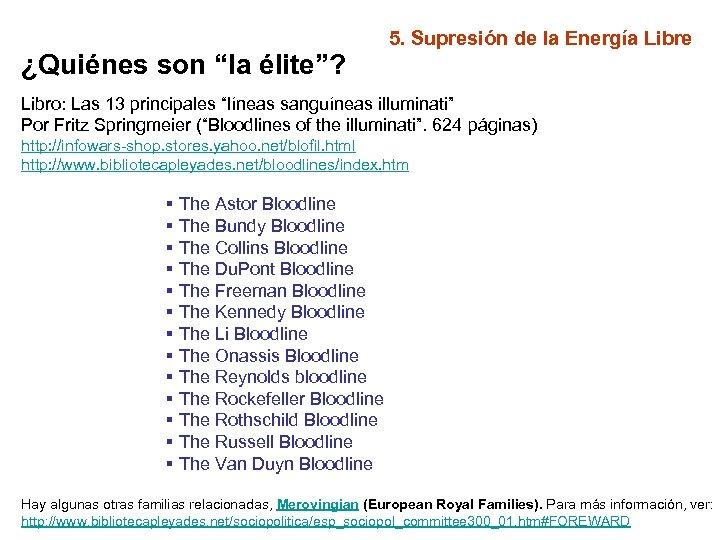 """¿Quiénes son """"la élite""""? 5. Supresión de la Energía Libre Libro: Las 13 principales"""
