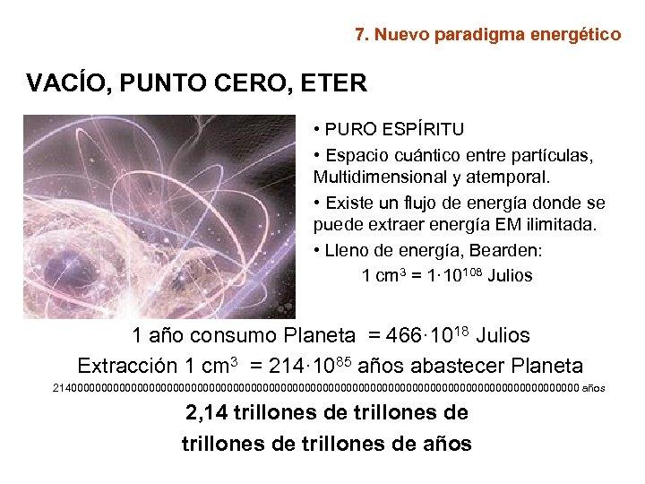 7. Nuevo paradigma energético VACÍO, PUNTO CERO, ETER • PURO ESPÍRITU • Espacio cuántico