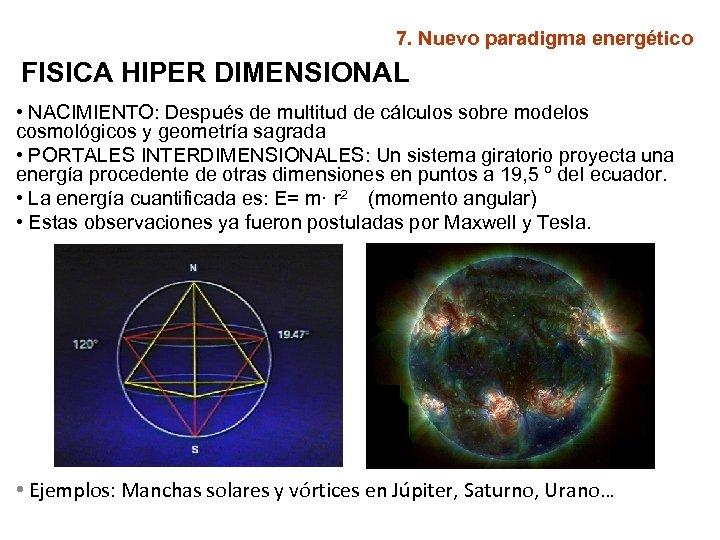 7. Nuevo paradigma energético FISICA HIPER DIMENSIONAL • NACIMIENTO: Después de multitud de cálculos