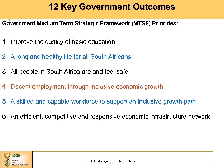 12 Key Government Outcomes Government Medium Term Strategic Framework (MTSF) Priorities: 1. Improve the