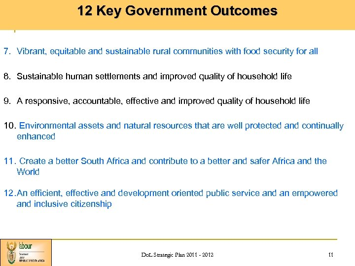 12 Key Government Outcomes 7. Vibrant, equitable and sustainable rural communities with food security