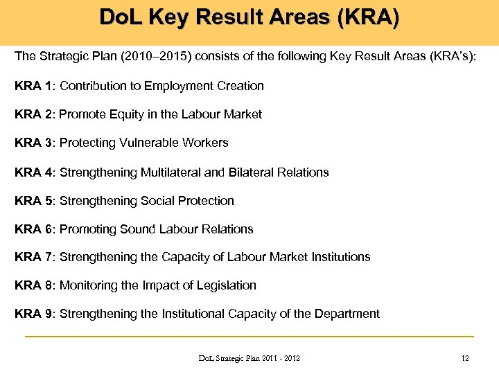 Do. L Key Result Areas (KRA) The Strategic Plan (2010– 2015) consists of the