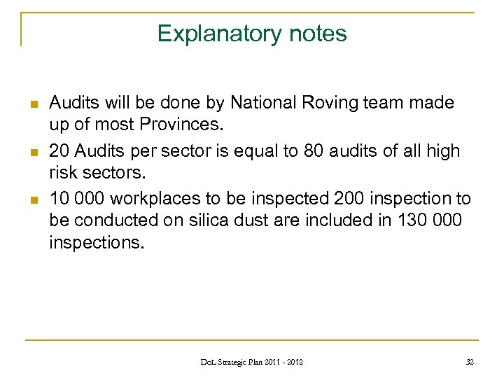 Explanatory notes n n n Audits will be done by National Roving team made