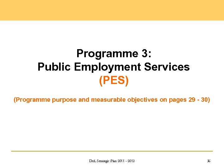 Programme 3: Public Employment Services (PES) (Programme purpose and measurable objectives on pages 29