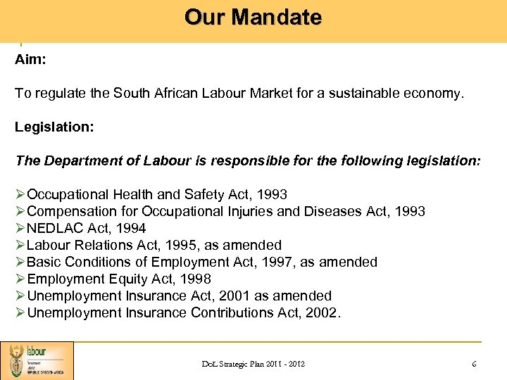 Our Mandate Aim: To regulate the South African Labour Market for a sustainable economy.