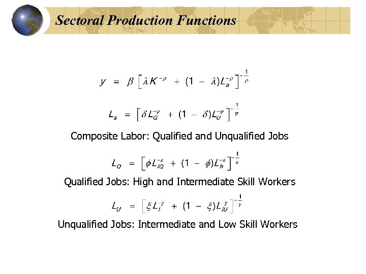 Sectoral Production Functions Composite Labor: Qualified and Unqualified Jobs Qualified Jobs: High and Intermediate