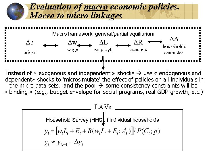 Evaluation of macro economic policies. Macro to micro linkages Macro framework, general/partial equilibrium Dp