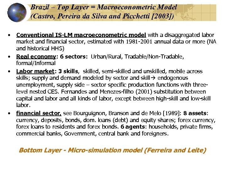 Brazil – Top Layer = Macroeconometric Model (Castro, Pereira da Silva and Picchetti [2003])