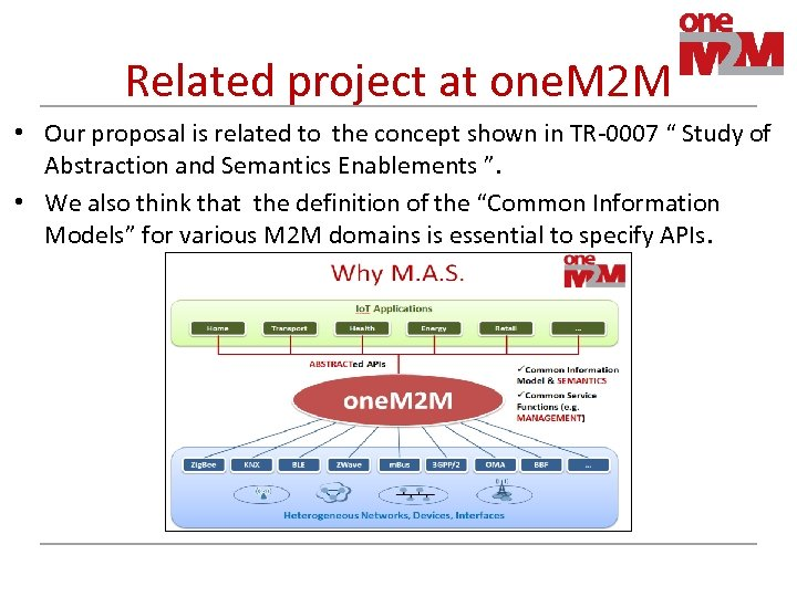 Related project at one. M 2 M • Our proposal is related to the