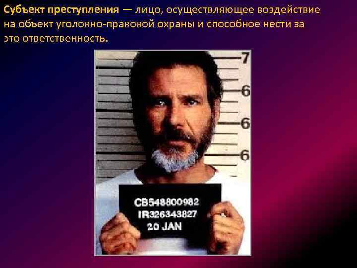Субъект преступления — лицо, осуществляющее воздействие на объект уголовно-правовой охраны и способное нести за