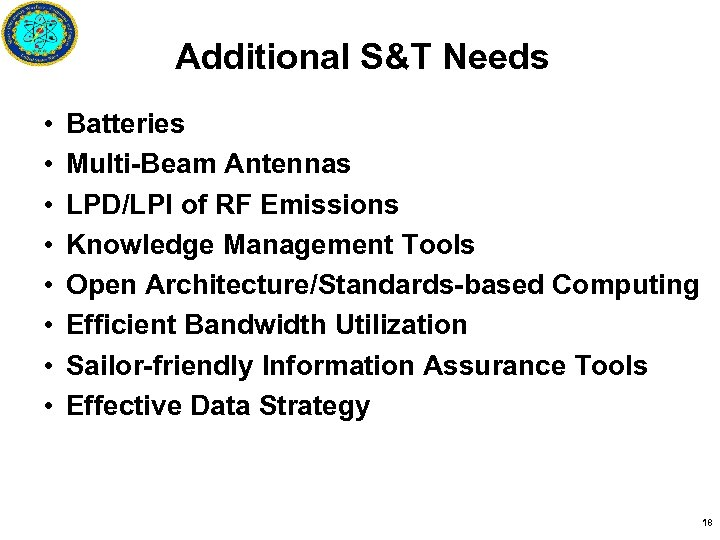 Additional S&T Needs • • Batteries Multi-Beam Antennas LPD/LPI of RF Emissions Knowledge Management