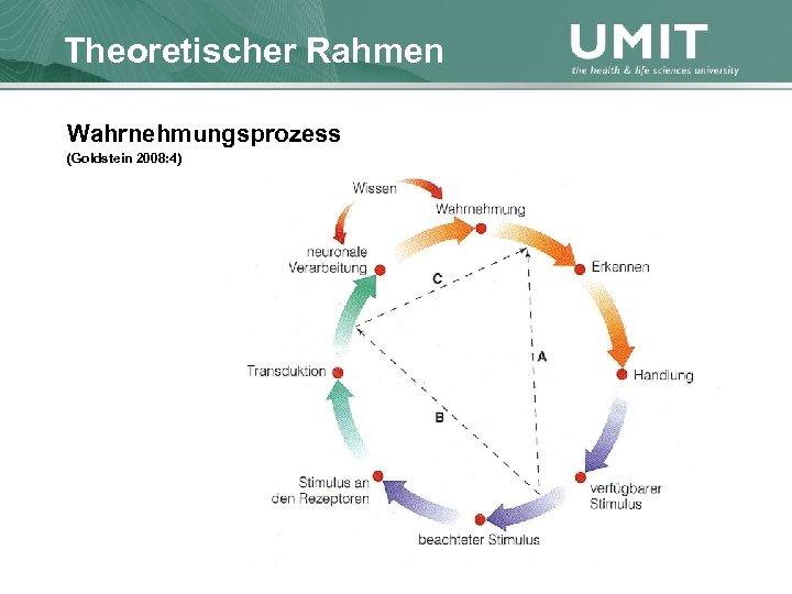 Masterstudium Pflegewissenschaft Theoretischer Rahmen Übersicht Wahrnehmungsprozess (Goldstein 2008: 4)