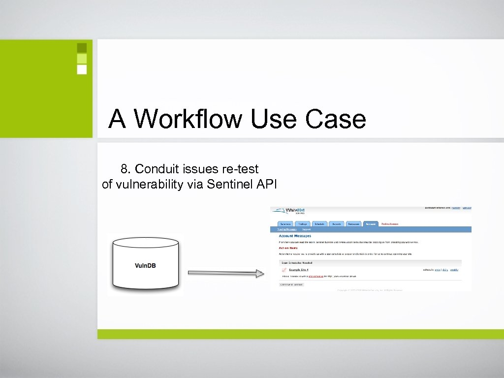 A Workflow Use Case 8. Conduit issues re-test of vulnerability via Sentinel API