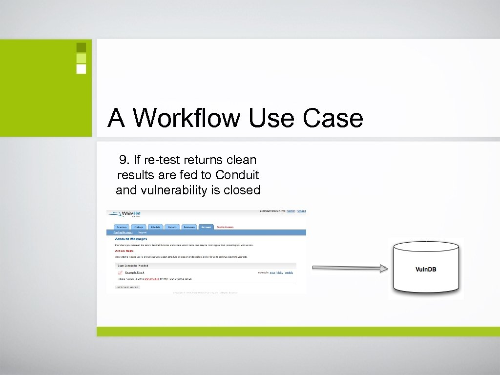 A Workflow Use Case 9. If re-test returns clean results are fed to Conduit