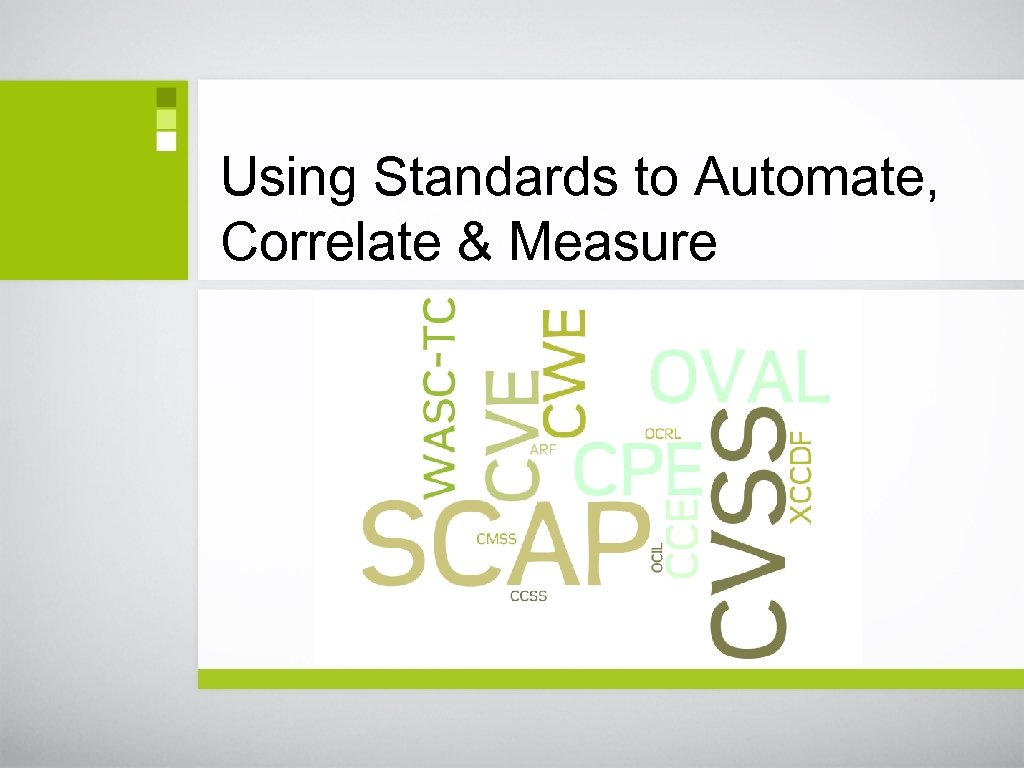 Using Standards to Automate, Correlate & Measure