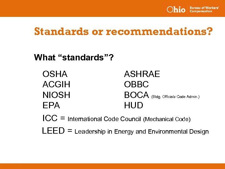 "Standards or recommendations? What ""standards""? OSHA ASHRAE ACGIH OBBC NIOSH BOCA (Bldg. Officials Code"