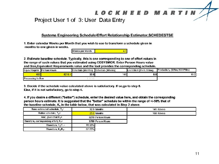 Project User 1 of 3: User Data Entry 11